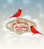 Tarjeta con dos cardenales stock de ilustración