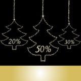 Tarjeta con el árbol de navidad de las estrellas Foto de archivo libre de regalías