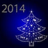 Tarjeta con el árbol de navidad de las estrellas Imagen de archivo libre de regalías