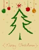 Tarjeta con el árbol pintado Fotos de archivo libres de regalías