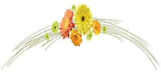 Tarjeta con el arco delicado de troncos y las flores de g brillantemente dibujado stock de ilustración