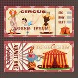 Tarjeta con el boleto del circo fotos de archivo libres de regalías