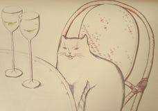 Tarjeta con el café en París y el gato al lado de la tabla Fotos de archivo libres de regalías