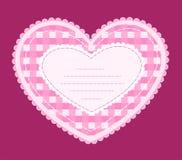 Tarjeta con el corazón del applique. Foto de archivo libre de regalías