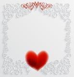 Tarjeta con el corazón y el modelo rojos. Foto de archivo libre de regalías