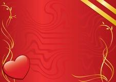 Tarjeta con el corazón y las cintas Imagen de archivo libre de regalías