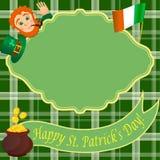 Tarjeta con el duende para el día del St Patricks Fotografía de archivo
