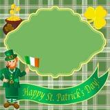 Tarjeta con el duende para el día del St Patricks Imagen de archivo libre de regalías