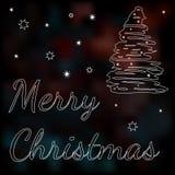Tarjeta con el esquema de un árbol de navidad Foto de archivo libre de regalías
