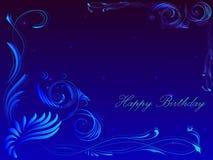 Tarjeta con el feliz cumpleaños del saludo en el marco del ornamento floral Imagen de archivo