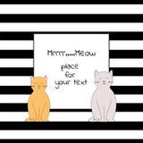 Tarjeta con el lugar cuadrado para el texto con las rayas y dos gatos ilustración del vector