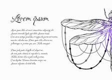 Tarjeta con el modelo espiritual de la libélula con las gotas y espacio para el texto Plantilla m?gica ilustración del vector