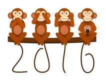 Tarjeta con el mono por el Año Nuevo 2016 Foto de archivo