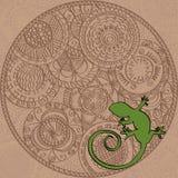 Tarjeta con el ornamento pintado a mano y el lagarto redondos, marrones Imagen de archivo libre de regalías