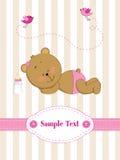 Tarjeta con el oso de peluche el dormir Foto de archivo libre de regalías