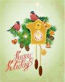 Tarjeta con el reloj de cuco de madera del vintage, pan de jengibre de Navidad, caramelo Imagen de archivo libre de regalías