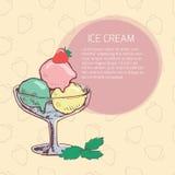 Tarjeta con helado Imagen de archivo libre de regalías