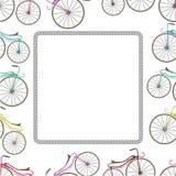 Tarjeta con la bicicleta y rastro de la rueda stock de ilustración