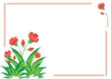 Tarjeta con la flora roja y verde Fotos de archivo