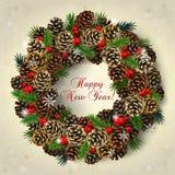 Tarjeta con la guirnalda de los conos de abeto, de las ramas y de las gotas rojas Fotografía de archivo libre de regalías