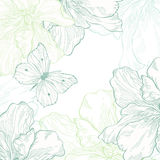 Tarjeta con la mariposa y las flores Stock de ilustración