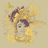 Tarjeta con la mujer afroamericana hermosa Fotos de archivo libres de regalías