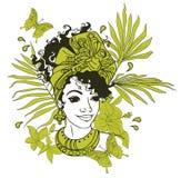 Tarjeta con la mujer afroamericana hermosa Foto de archivo libre de regalías