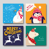 Tarjeta con la Navidad reno, muñeco de nieve, pingüino, oso polar Fotografía de archivo libre de regalías