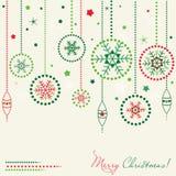 Tarjeta con las bolas de la Navidad Foto de archivo libre de regalías