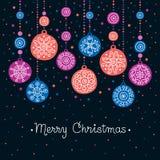 Tarjeta con las bolas de la Navidad Fotografía de archivo