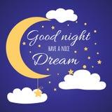 Tarjeta con las buenas noches del deseo en fondo azul marino del cielo con la luna, estrellas, luna Imagen de archivo libre de regalías