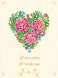 Tarjeta con las flores de la peonía Imagen de archivo libre de regalías