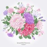 Tarjeta con las flores del verano Ilustración del Vector