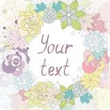 Tarjeta con las flores en una etiqueta redonda con el lugar para su texto Imágenes de archivo libres de regalías