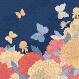 Tarjeta con las flores, las hierbas y las mariposas Stock de ilustración