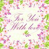 Tarjeta con las flores rosadas Fotos de archivo libres de regalías
