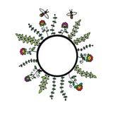 Tarjeta con las flores y la abeja con el espacio para el texto Imagen de archivo
