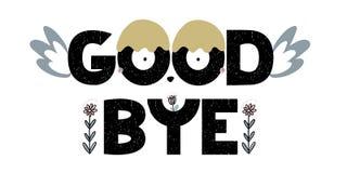 Tarjeta con las letras adiós con los elementos decorativos Ilustración del vector Libre Illustration