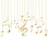 Tarjeta con las notas musicales y la clave de sol de oro Foto de archivo libre de regalías