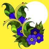 Tarjeta con las ramitas abstractas con las flores Imagen del vector Fotos de archivo