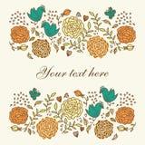 Tarjeta con las rosas Fotografía de archivo libre de regalías