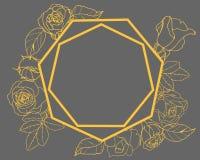 Tarjeta con las rosas del oro en el fondo oscuro stock de ilustración