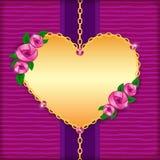Tarjeta con las rosas, el corazón de oro y las gemas rosadas Fotos de archivo