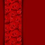 Tarjeta con las rosas rojas. Foto de archivo