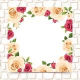 Tarjeta con las rosas rojas y blancas en una pared de piedra Vector EPS-10 Imágenes de archivo libres de regalías