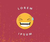 Tarjeta con lorem ipsum del emoji de risa y del texto libre illustration