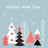 Tarjeta con los árboles de navidad en colores multi ilustración del vector