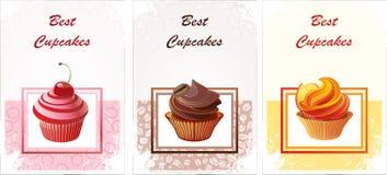 Tarjeta con los capcakes Fotografía de archivo