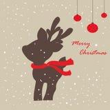 Tarjeta con los ciervos de la Navidad libre illustration