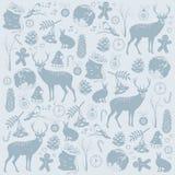 Tarjeta con los ciervos de la Navidad stock de ilustración